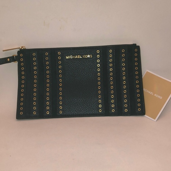 f8f7ad99dd21 Michael Kors Grommets Leather Clutch Wristlet